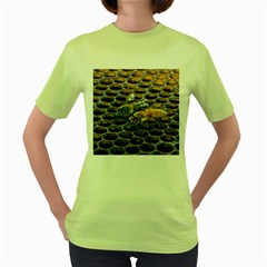 Worker Bees On Honeycomb Women s Green T-Shirt