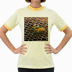 Worker Bees On Honeycomb Women s Fitted Ringer T-Shirts