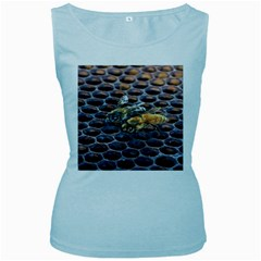 Worker Bees On Honeycomb Women s Baby Blue Tank Top