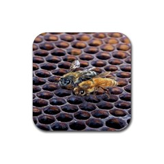 Worker Bees On Honeycomb Rubber Coaster (square)