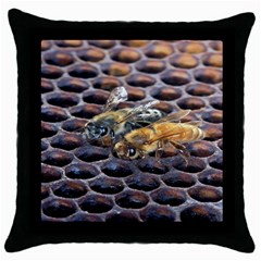 Worker Bees On Honeycomb Throw Pillow Case (Black)