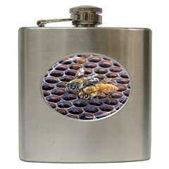 Worker Bees On Honeycomb Hip Flask (6 Oz)