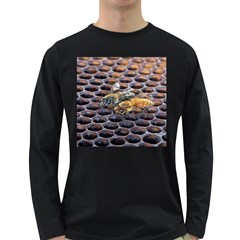 Worker Bees On Honeycomb Long Sleeve Dark T Shirts