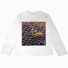 Worker Bees On Honeycomb Kids Long Sleeve T-Shirts