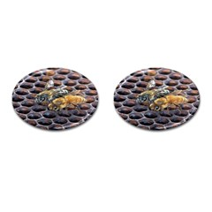 Worker Bees On Honeycomb Cufflinks (Oval)