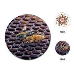 Worker Bees On Honeycomb Playing Cards (Round)