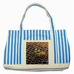 Worker Bees On Honeycomb Striped Blue Tote Bag