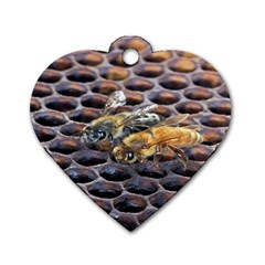 Worker Bees On Honeycomb Dog Tag Heart (One Side)