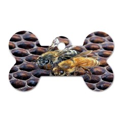 Worker Bees On Honeycomb Dog Tag Bone (Two Sides)