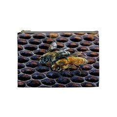 Worker Bees On Honeycomb Cosmetic Bag (medium)