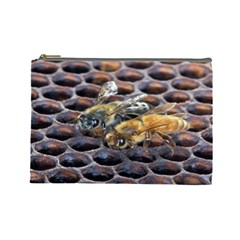 Worker Bees On Honeycomb Cosmetic Bag (Large)