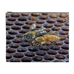 Worker Bees On Honeycomb Cosmetic Bag (XL)