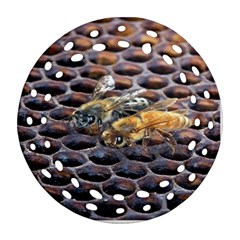 Worker Bees On Honeycomb Ornament (Round Filigree)