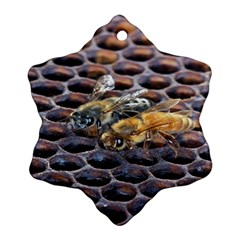 Worker Bees On Honeycomb Snowflake Ornament (Two Sides)