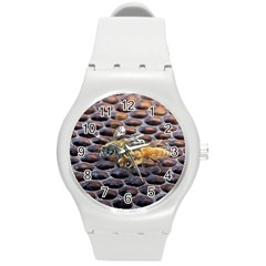 Worker Bees On Honeycomb Round Plastic Sport Watch (M)