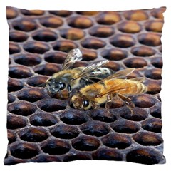 Worker Bees On Honeycomb Large Cushion Case (two Sides)