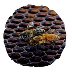 Worker Bees On Honeycomb Large 18  Premium Round Cushions