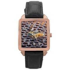 Worker Bees On Honeycomb Rose Gold Leather Watch
