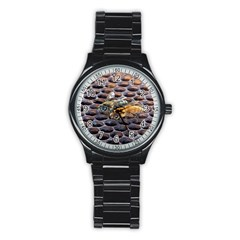 Worker Bees On Honeycomb Stainless Steel Round Watch