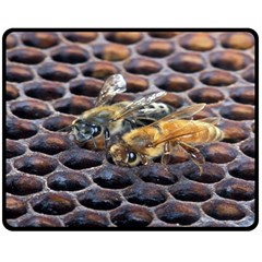 Worker Bees On Honeycomb Double Sided Fleece Blanket (medium)