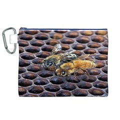 Worker Bees On Honeycomb Canvas Cosmetic Bag (XL)