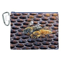 Worker Bees On Honeycomb Canvas Cosmetic Bag (XXL)