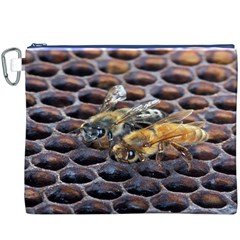 Worker Bees On Honeycomb Canvas Cosmetic Bag (XXXL)