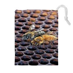 Worker Bees On Honeycomb Drawstring Pouches (Extra Large)