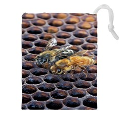 Worker Bees On Honeycomb Drawstring Pouches (XXL)