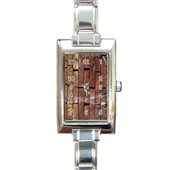 Wood Logs Wooden Background Rectangle Italian Charm Watch