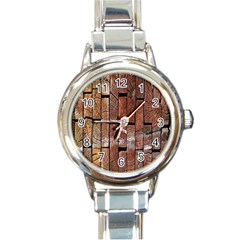 Wood Logs Wooden Background Round Italian Charm Watch