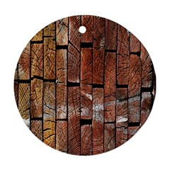 Wood Logs Wooden Background Ornament (round)