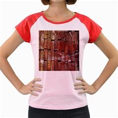 Wood Logs Wooden Background Women s Cap Sleeve T-Shirt