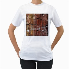 Wood Logs Wooden Background Women s T Shirt (white) (two Sided)