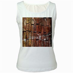 Wood Logs Wooden Background Women s White Tank Top