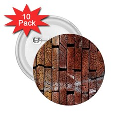 Wood Logs Wooden Background 2 25  Buttons (10 Pack)