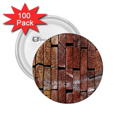 Wood Logs Wooden Background 2.25  Buttons (100 pack)