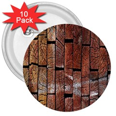Wood Logs Wooden Background 3  Buttons (10 pack)