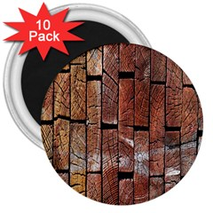 Wood Logs Wooden Background 3  Magnets (10 Pack)