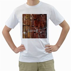 Wood Logs Wooden Background Men s T Shirt (white) (two Sided)