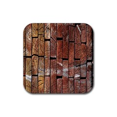 Wood Logs Wooden Background Rubber Square Coaster (4 pack)