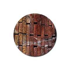 Wood Logs Wooden Background Rubber Coaster (round)