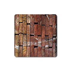 Wood Logs Wooden Background Square Magnet