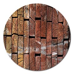 Wood Logs Wooden Background Magnet 5  (Round)