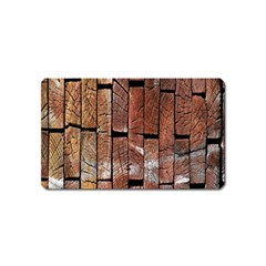 Wood Logs Wooden Background Magnet (Name Card)
