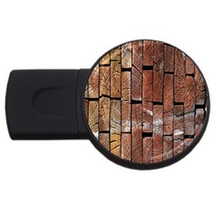 Wood Logs Wooden Background USB Flash Drive Round (1 GB)