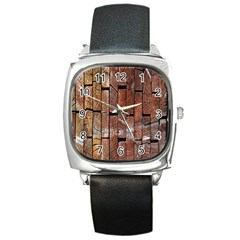Wood Logs Wooden Background Square Metal Watch