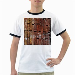 Wood Logs Wooden Background Ringer T Shirts
