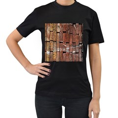 Wood Logs Wooden Background Women s T-Shirt (Black) (Two Sided)