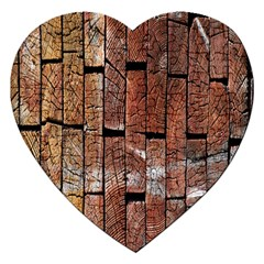 Wood Logs Wooden Background Jigsaw Puzzle (Heart)